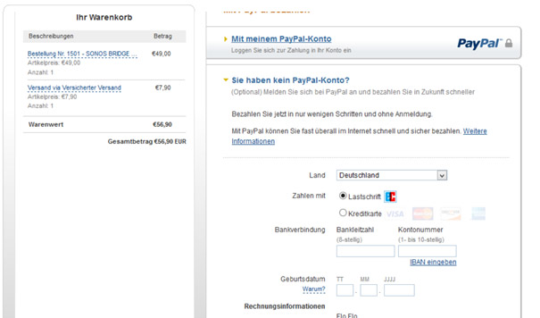 paypal zahlung ohne anmeldung